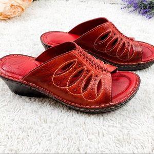 NURTURE Red Leather Slip on Heel Shoe | 7.5 M